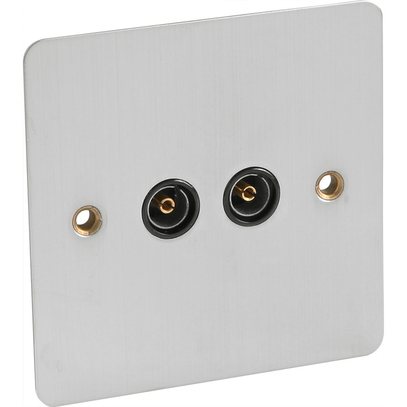 Flat Plate Satin Chrome TV Socket Outlet