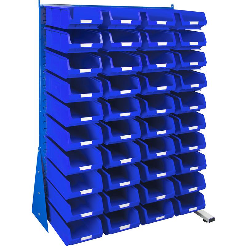 Barton Steel Louvre Panel Adda Stand with Blue Bins 1600 x 1000 x 500mm