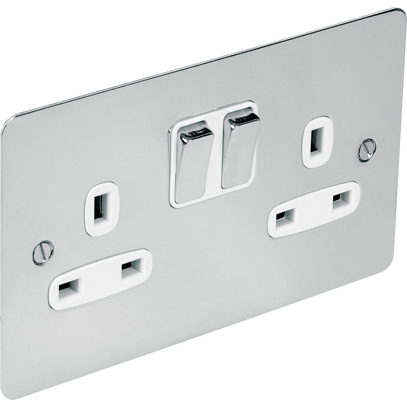 Flat Plate Polished Chrome 13A Socket