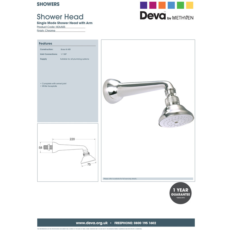 Deva Single Spray Shower Head & Arm