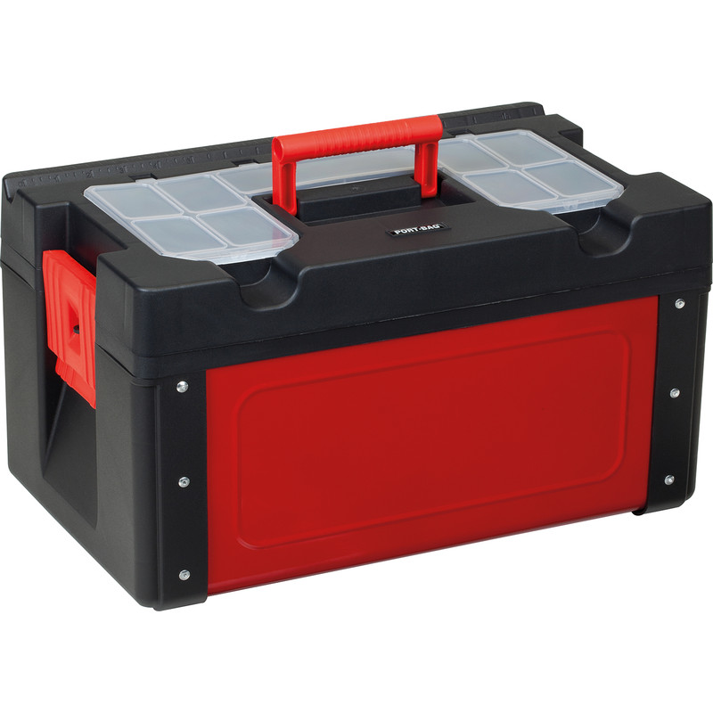 Olympia Metal-Plastic Toolbox with Lid Organiser and Tote Tray