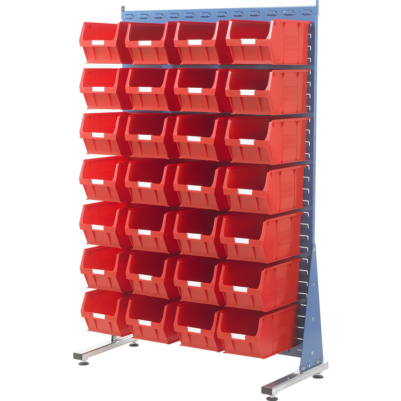 Barton Steel Louvre Panel Starter Stand with Red Bins 1600 x 1000 x 500mm