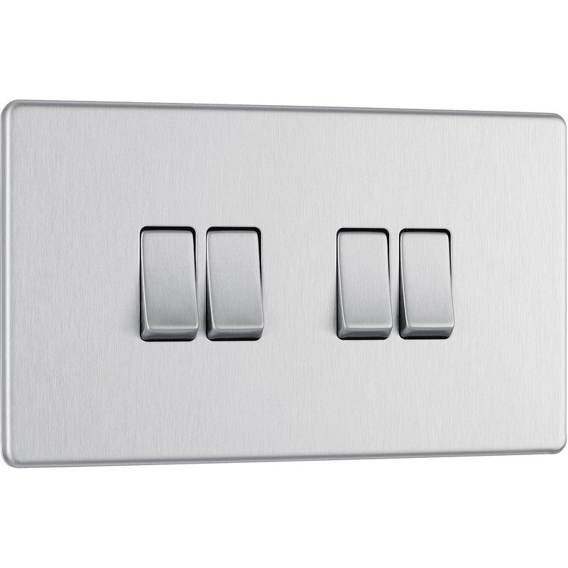 Screwless Flat Plate Brushed Stainless Steel 10AX Light Switch 4