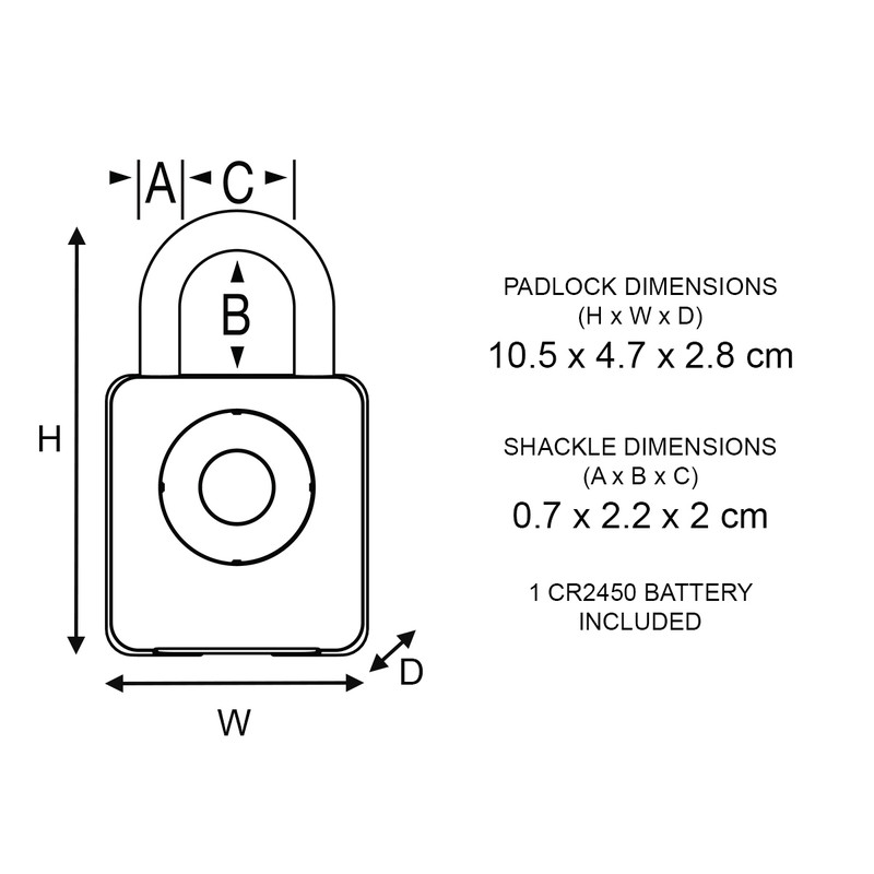 Bluetooth Smart Zinc Body Padlock