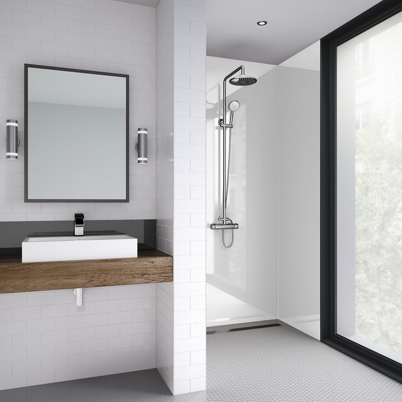 Mermaid White Gloss Laminate Shower Wall Panel