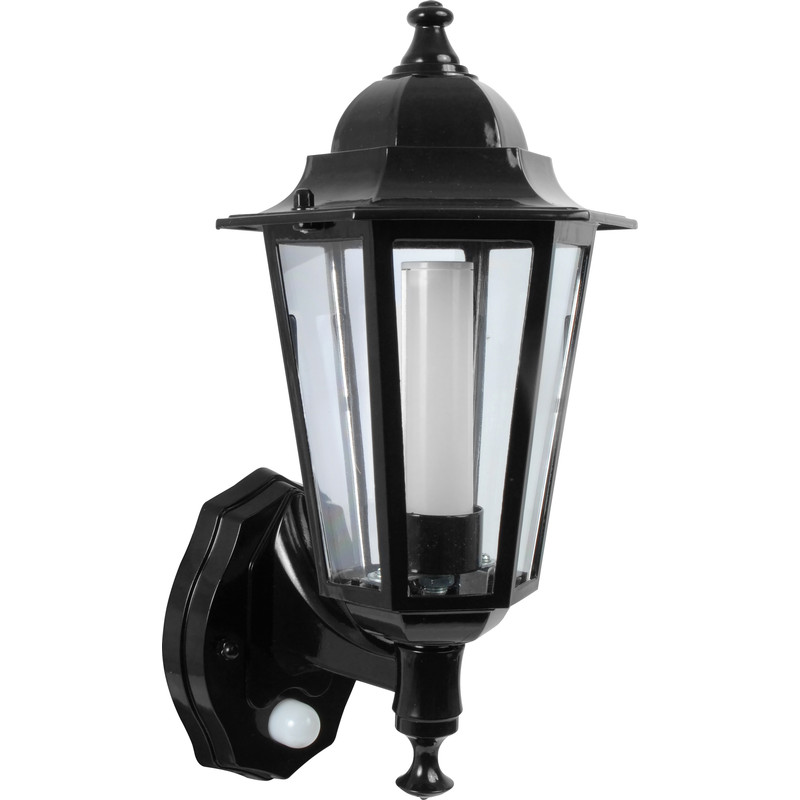 P Lux 8w Led Photocell Pir Coach Lantern Black