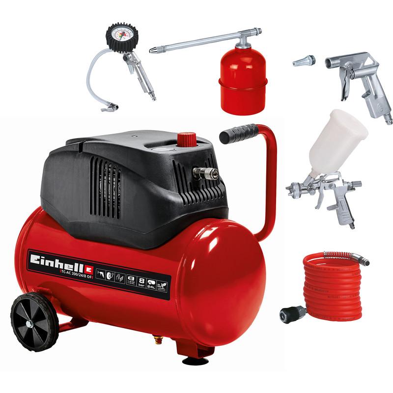Einhell 1.6hp 24L Oil Free Compressor + 5Pc Airtool Kit