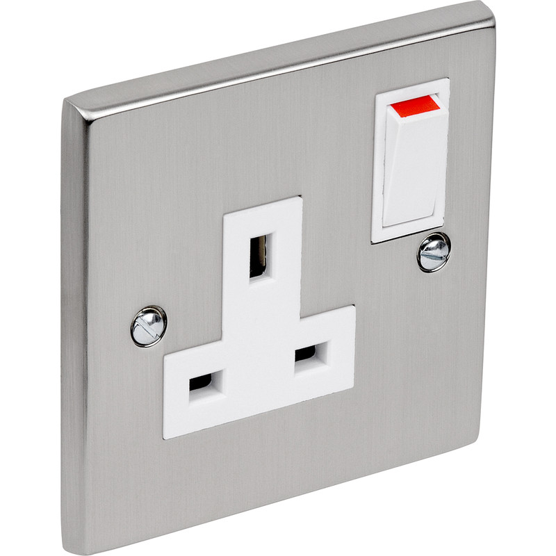 Satin Chrome / White Switched Socket