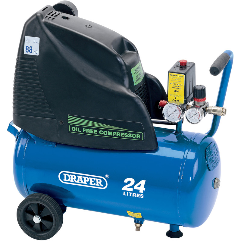 Draper 24L 1100W Oil-Free Air Compressor