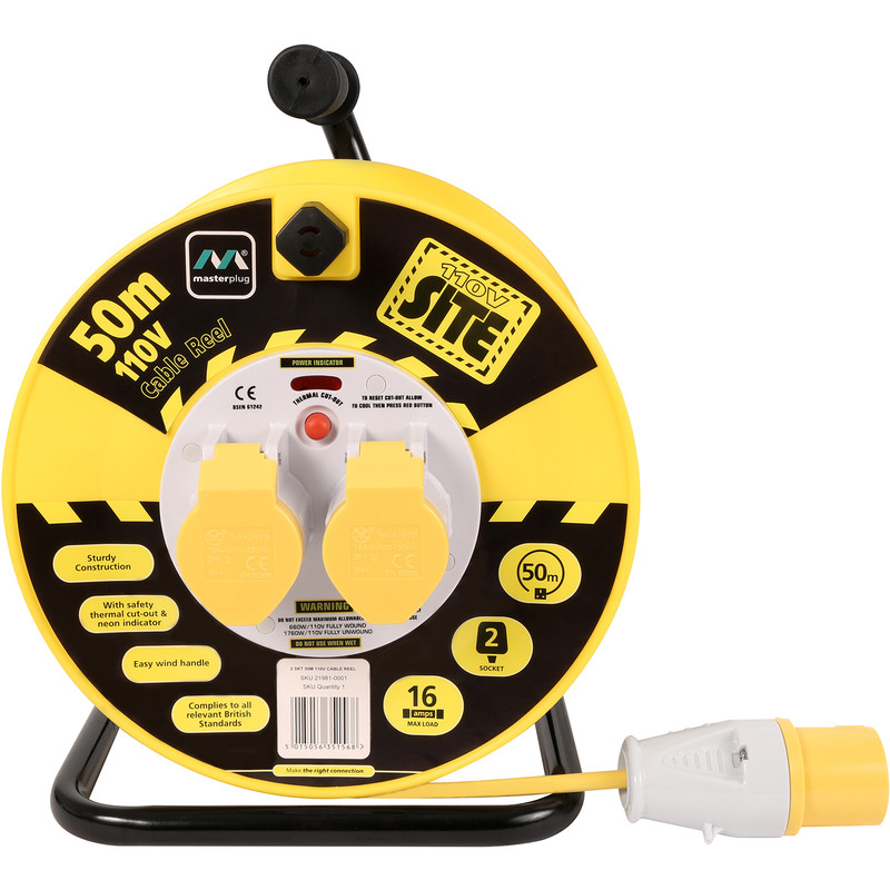 Masterplug 2 Socket 16A Open Cable Reel