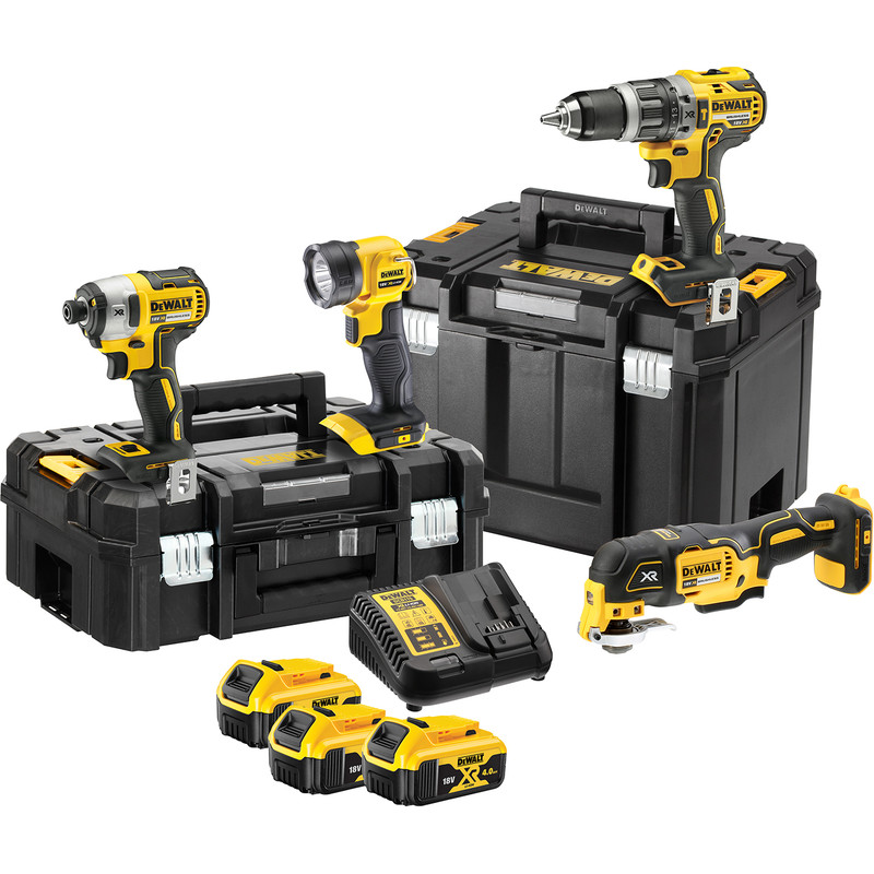 DEWALT 18V XR Brushless Combi Drill, Impact Driver, Multi Tool & Torch 4 Piece Kit