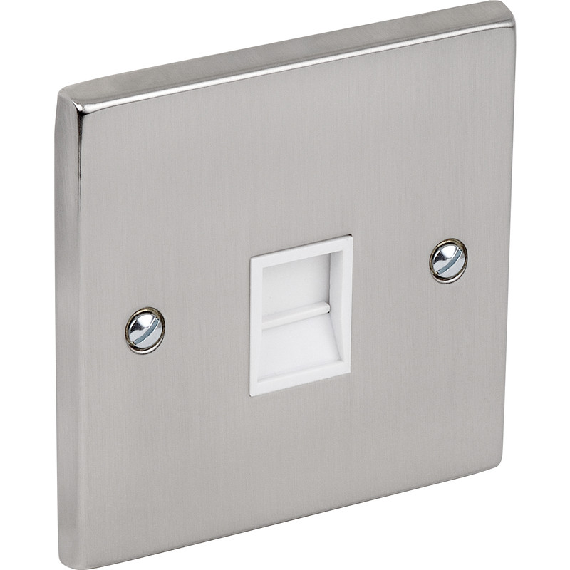 Satin Chrome / White Telephone Socket