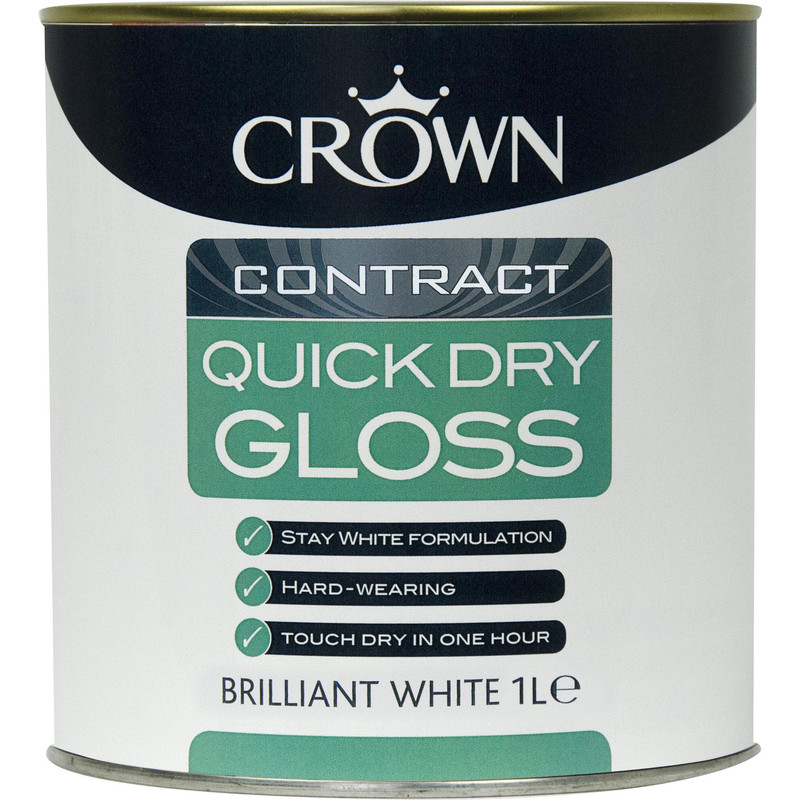 Crown Contract Quick Dry Gloss Paint Brilliant White 1L