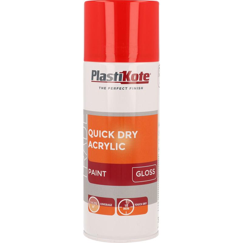 Plastikote Quick Dry Acrylic Spray Paint 400ml Traffic Red