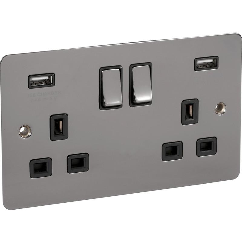 Flat Black Nickel USB Switched Socket