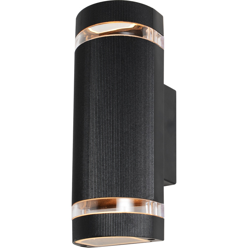 Zinc Helios IP44 Up & Down Black Wall Light