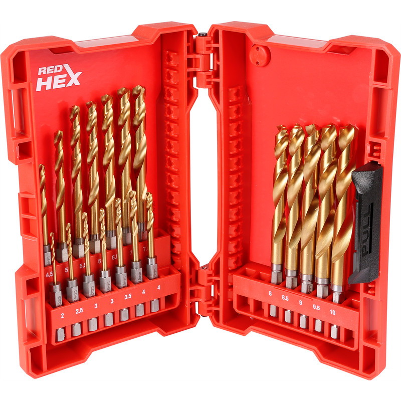 Milwaukee Shockwave HSS-G Red Hex Impact Rated Drill Bit Set