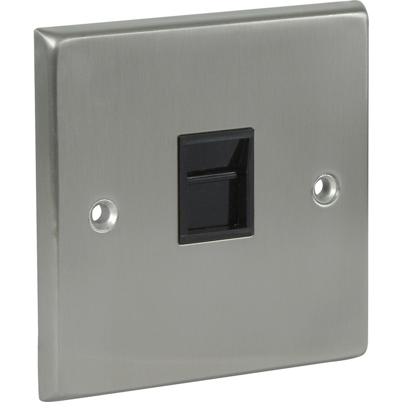 Satin Chrome / Black Telephone Socket