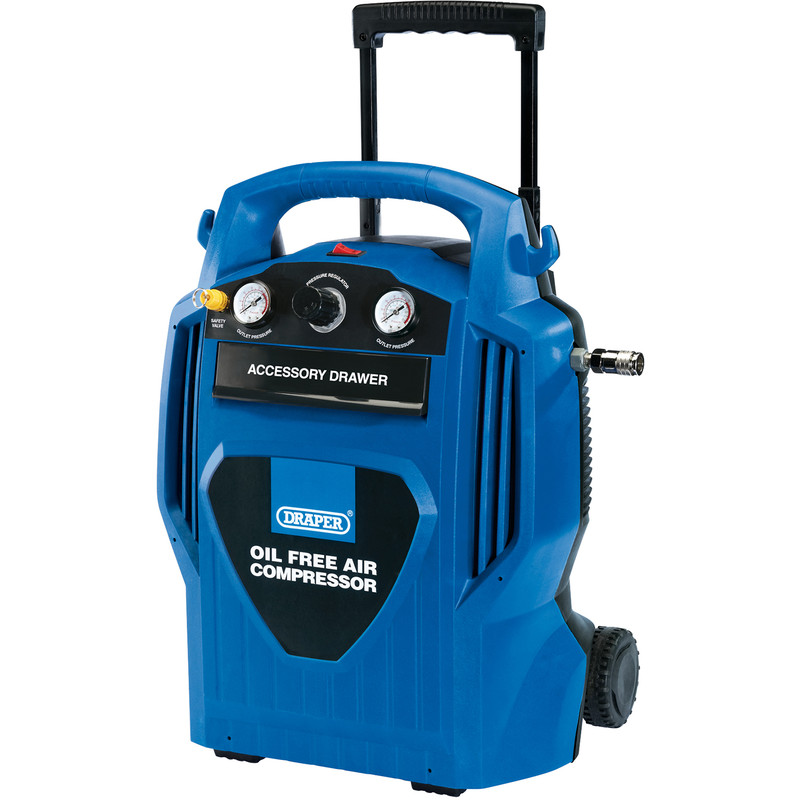 Draper 6L 1200W Oil-Free Air Compressor with Telescopic Handle
