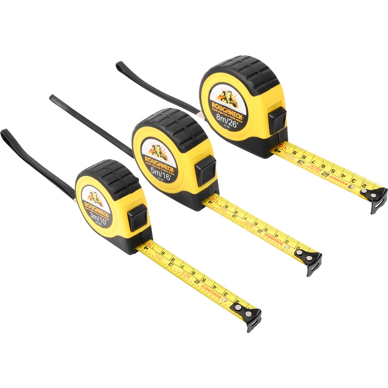 Roughneck E-Z Read Tape Measure 3 Piece Set