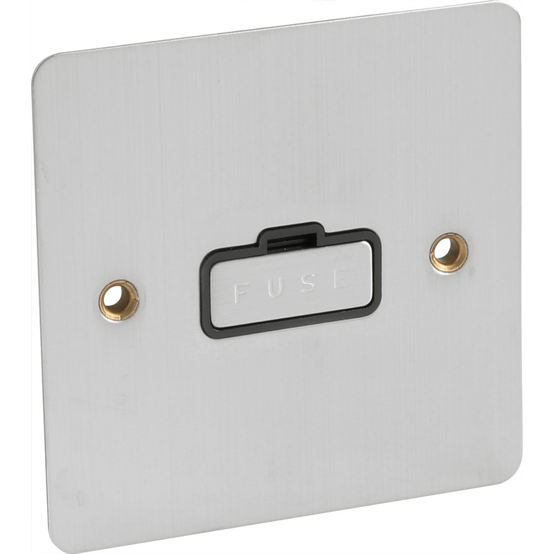 Flat Plate Satin Chrome Fused Spur 13A