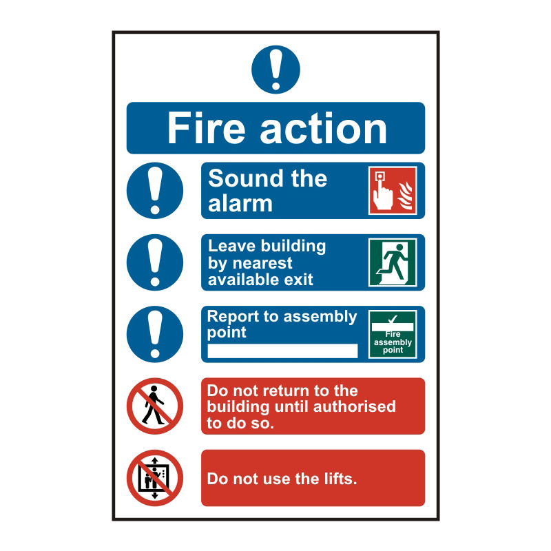 PVC Fire Action Safety Sign