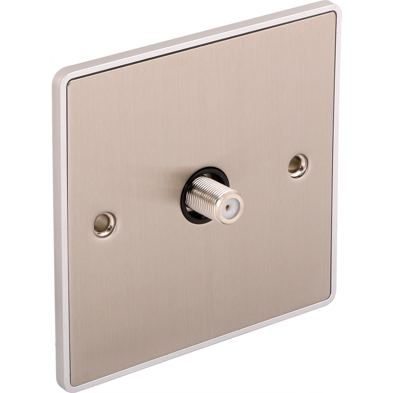 Urban Edge Brushed Chrome TV/ Satellite Socket