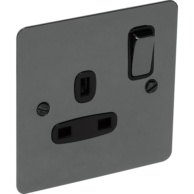 Flat Plate Black Nickel 13A Socket