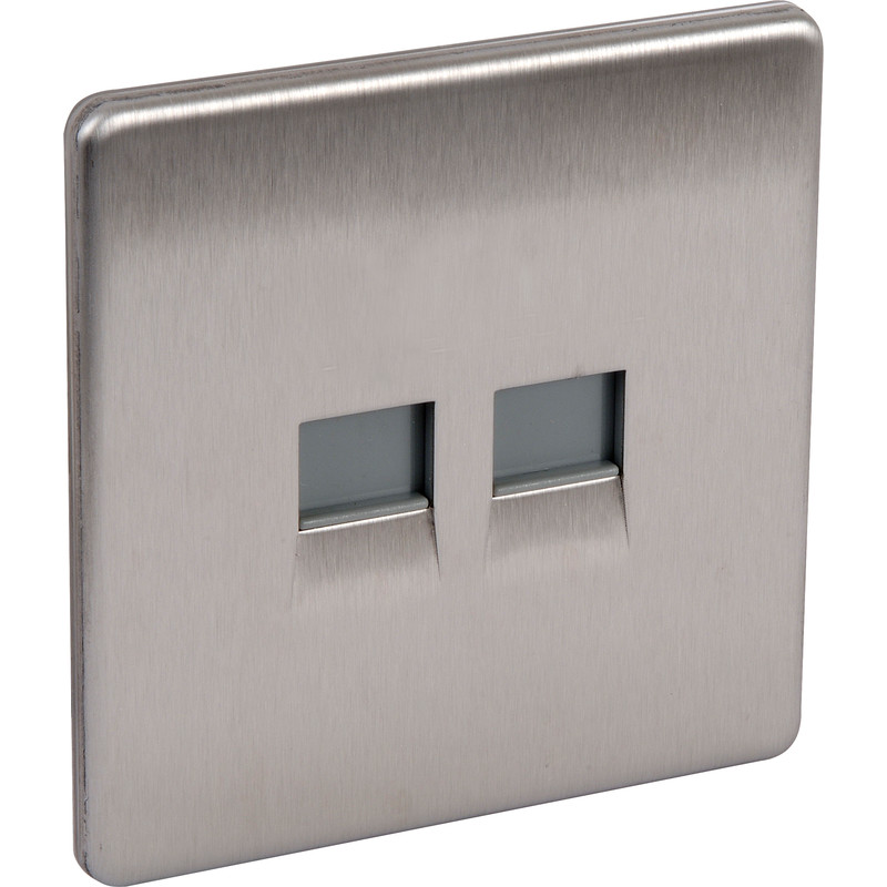 BG Screwless Flat Plate Brushed Stainless Steel Telephone Socket