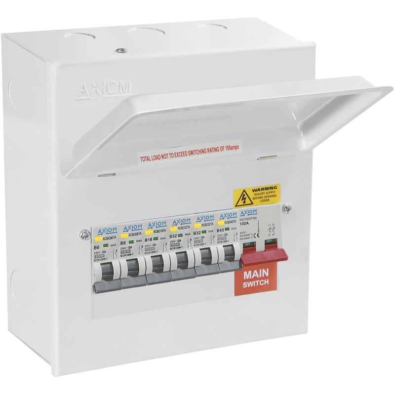 Axiom Metal Consumer Unit + 6 Type A RCBO