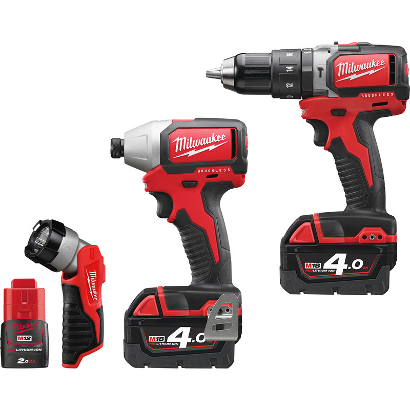 Milwaukee M18BLPP2D-423C 18V Li-Ion Cordless Brushless Combi Drill & Impact Driver Twin Pack Plus Free LED Torch