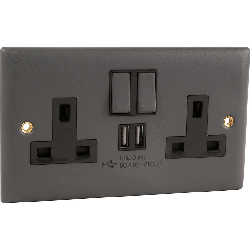 Power Pro Anthracite Switched Socket with USB