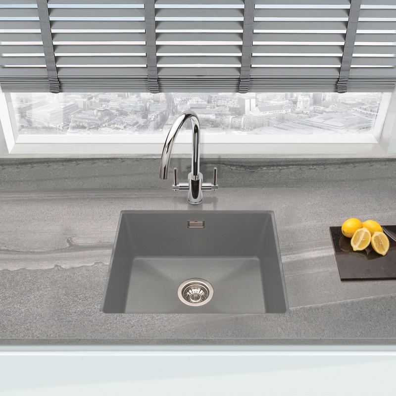 Granite Composite Single Bowl Undermount Kitchen Sink Grey