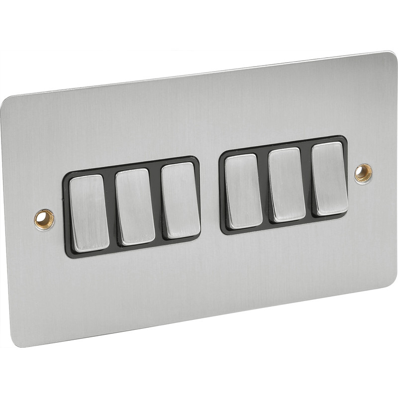 Flat Plate Satin Chrome 10A Switch