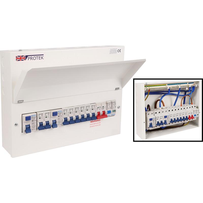 Protek 18th Edition Dual RCD MCB Surge Protected Consumer Unit