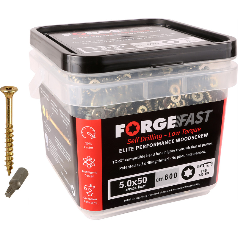 ForgeFast Multi Purpose Self Drilling Wood Screw Tub