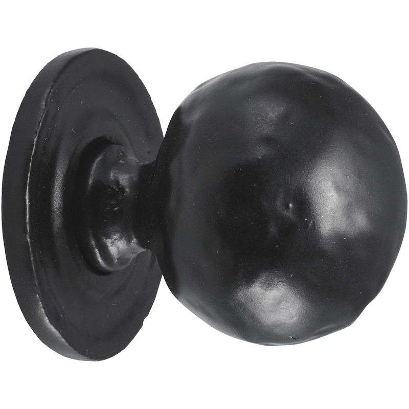 Old Hill Ironworks Hammered Ball Cabinet Knob on Round Rose