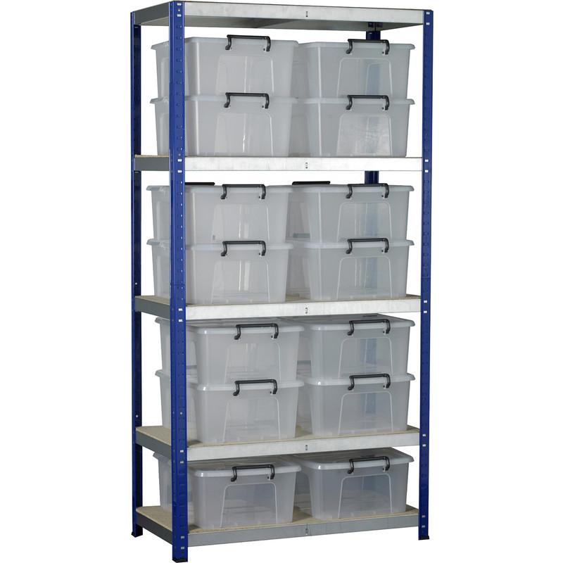 Eco 5 Tier Shelving Bay with Storage Containers