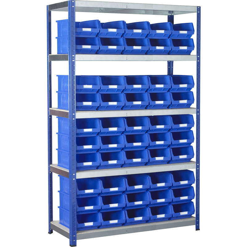Eco 5 Tier Shelving Bay with Blue Bins