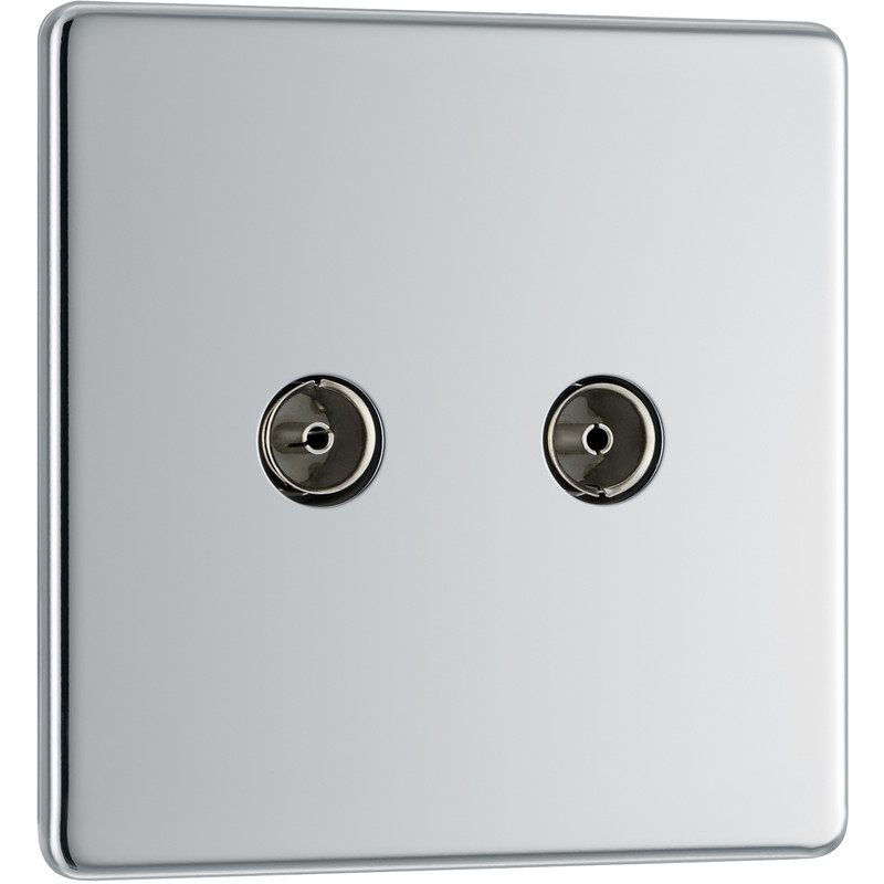 BG Screwless Flat Plate Polished Chrome Coaxial Sockets