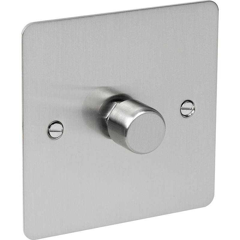 Flat Plate Satin Chrome LED Dimmer Switch