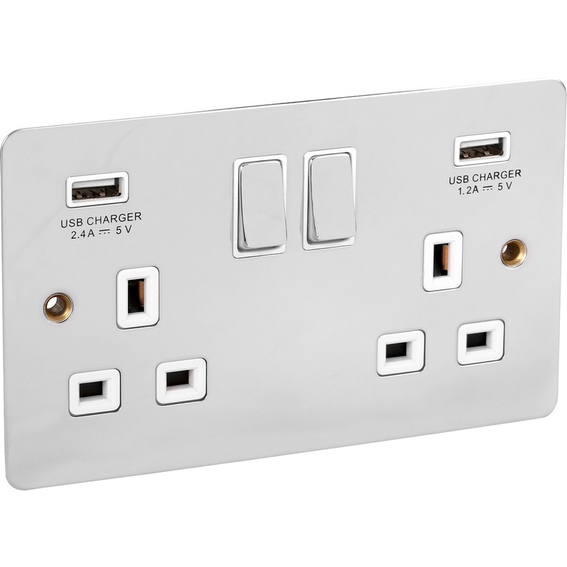 Flat Polished Chrome USB Switched Socket