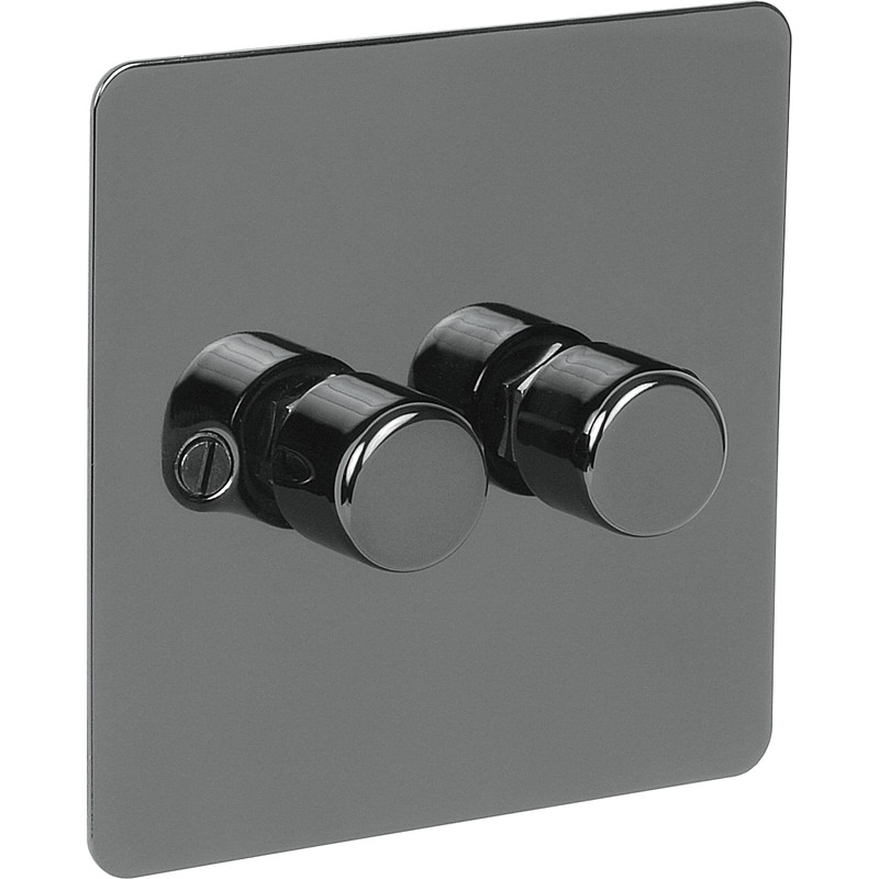 Flat Plate Black Nickel Dimmer Switch