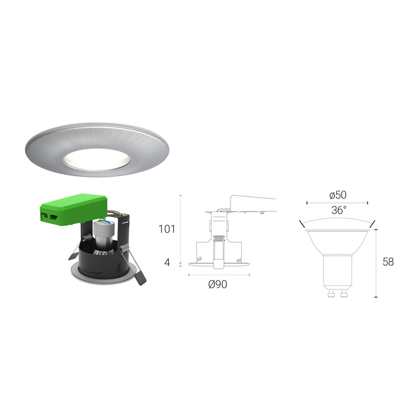 4lite WiZ Connected 4.9W LED Smart WiFi Bluetooth IP20 Fire Rated Downlight