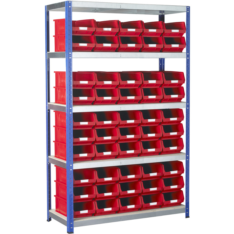 Eco 5 Tier Shelving Bay with Red Bins