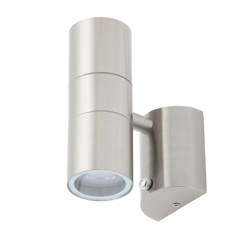 Leto Stainless Steel Up & Down Photocell Wall Light IP44