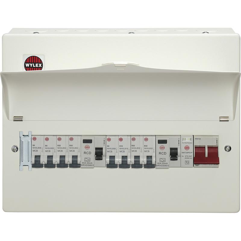 Wylex Metal Dual Type A RCD Consumer Unit + 8 MCBs + SPD