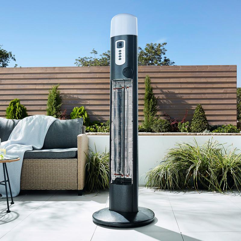 Outdoor Large Pedestal Heater & LED Tri-Light