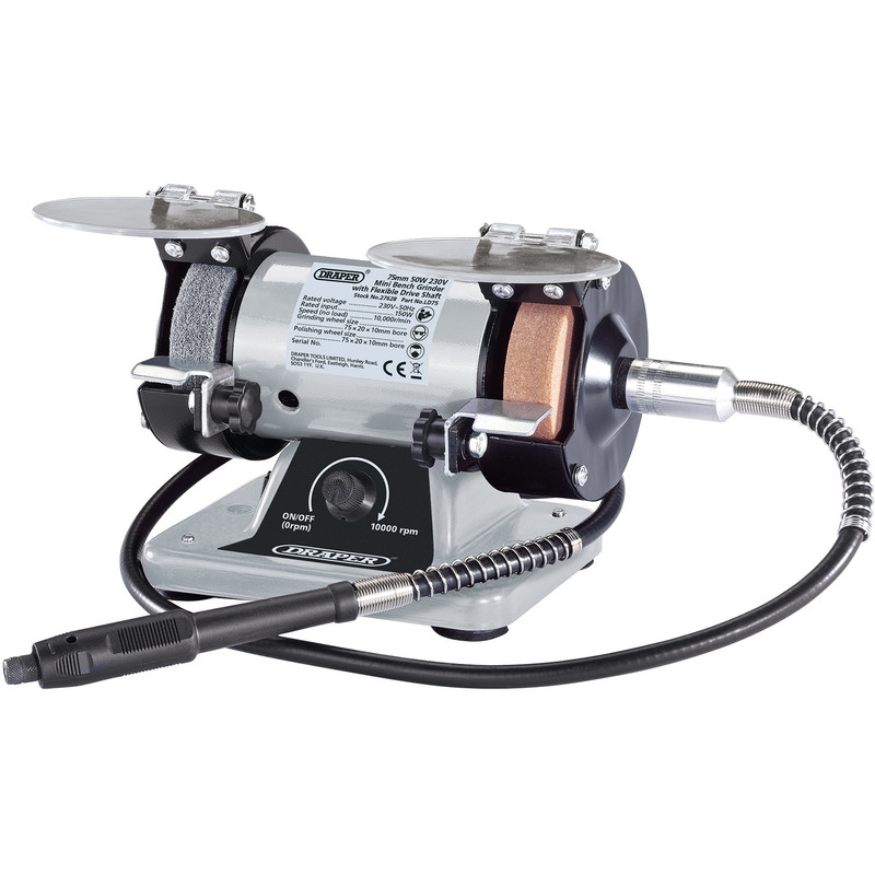 Draper 75mm Mini Bench Grinder with Flexible Drive Shaft and Accessories