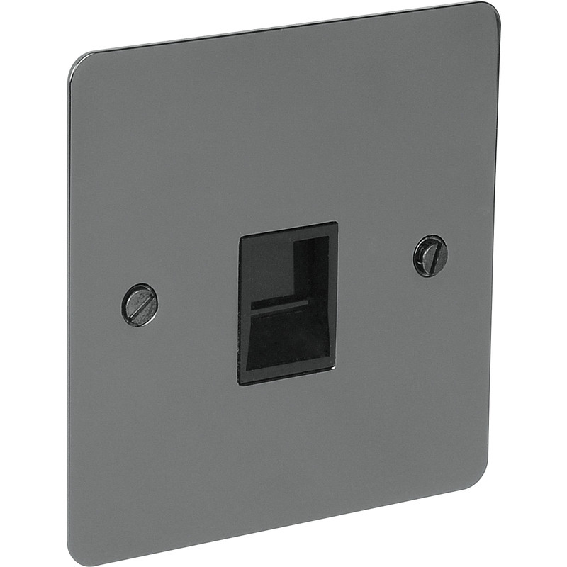 Flat Plate Black Nickel Telephone Socket